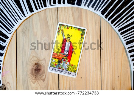 "Chainat Province, Thailand, December 9, 2017. illustrative editorial tarot cards ""THE MAGICIAN ."""