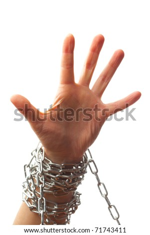 chained hand isolated on white background