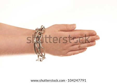 Chained hands isolated on white background