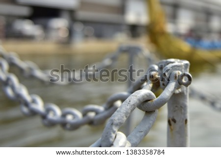Chains and slings show the boundary line. #1383358784