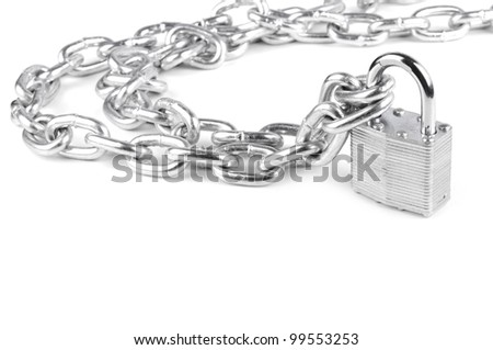 chains are closed on a lock on a white background