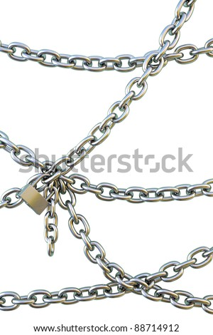 chains are joined together by a padlock. isolated on white. stock photo