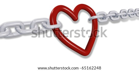 Chains of love tug romantic heart Valentine symbol in two directions - stock photo