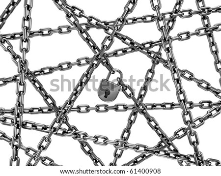 chains with lock isolated on white background stock photo