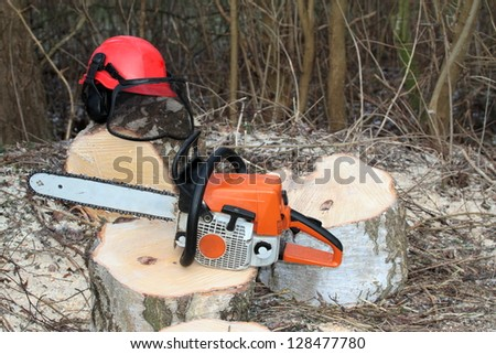 Chainsaw and protective safety equipment