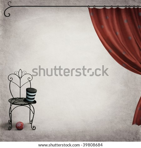 Chair, hat and ball