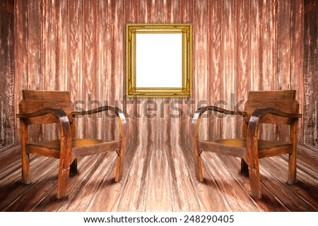 Chair in a room with walls and wood frame wall