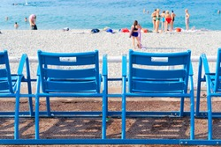 chair in fron of beach of cote dAzur Provence, France