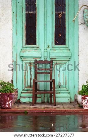 chair in front of door