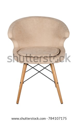 Chair isolated. Modern chair, beige. Wooden furniture. #784107175