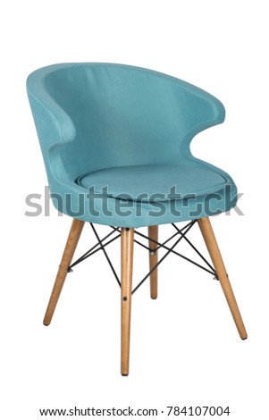 Chair isolated. Modern chair, light blue. Wooden furniture. #784107004