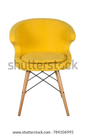 Chair isolated. Modern chair, yellow. Wooden furniture. #784106995