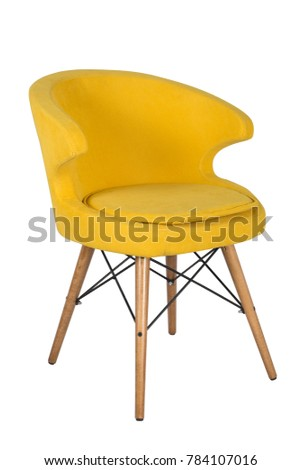 Chair isolated. Modern chair, yellow. Wooden furniture. #784107016