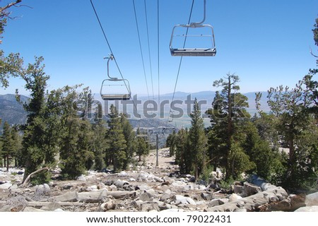 chair lift at ski resort during summer in mammoth, california
