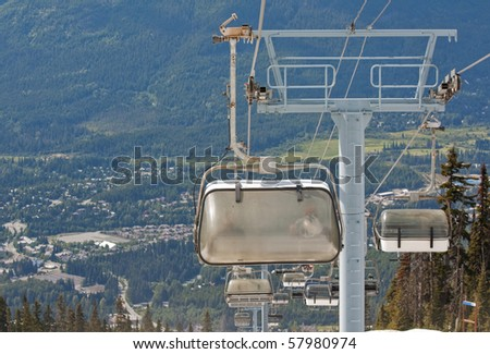 Chair lifts for the ski runs at Whistler Peak in British Columbia, Canada