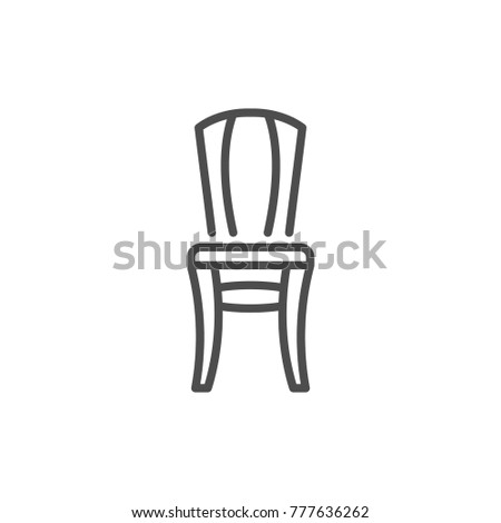 Chair line icon isolated on white
