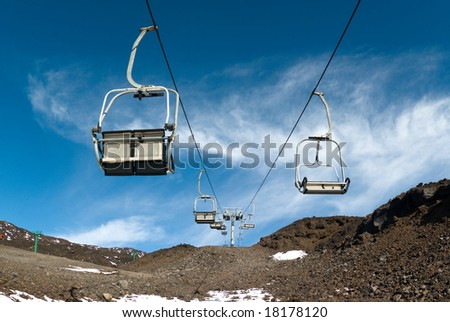 Chair skilift for skiers on the volcano Etna