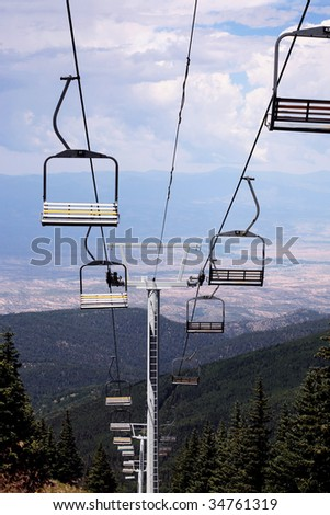 Chair skilift for skiers, Santa Fe, Mew Mexico
