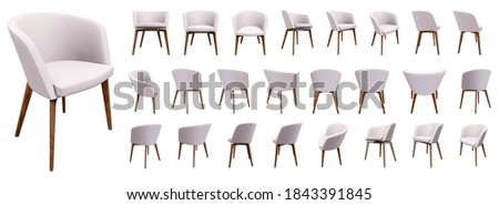 Chair, stool, 3d model group render in high resolution with many positions such as side view, front view, back view, three-quarters. Foto stock ©