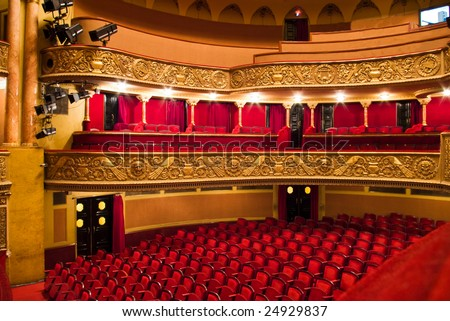 chairs and balcony in classic theater performance hall
