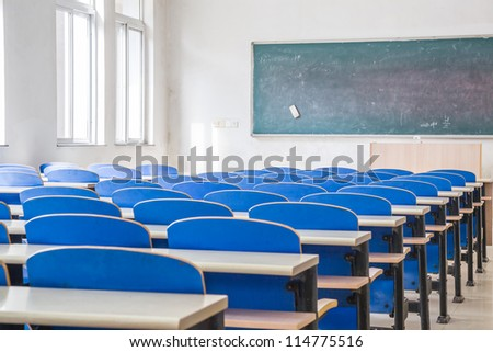 Chairs and tables in a campus classroom