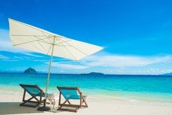 Chairs and Umbrella with Sea View at Phi Phi Island