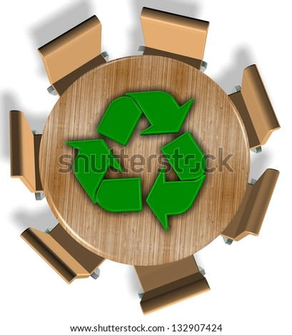 Chairs around round wooden table and recycling symbol on the top / Recycling industry