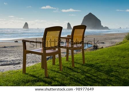 Chairs at Canon Beach, Oregon