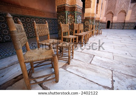 Chairs at the Ali Ben Youssef Madrassa in Marrakesh, Morocco.