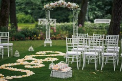 Chairs for the guest on the wedding ceremony