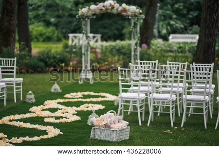 Chairs for the guest on the wedding ceremony Сток-фото ©