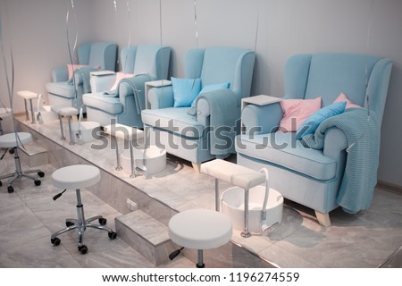 Chairs in a pedicure beauty salon
