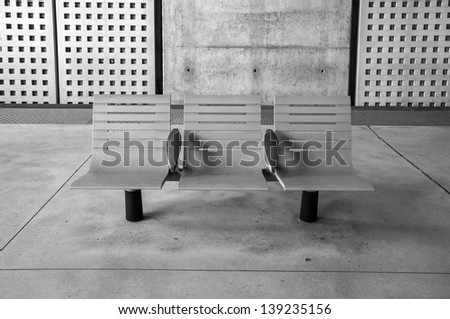 chairs in a train station, Valence, France