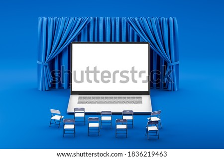 Chairs in front of laptop screen against blue theater curtain background. Concept for business conference, distance learning, online cinema. Mock up. 3d rendering