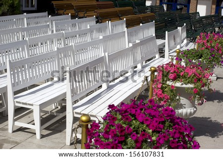chairs in open air outside.