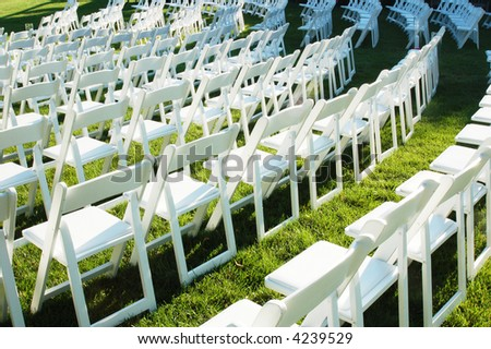 stock photo chairs in order before wedding ceremony