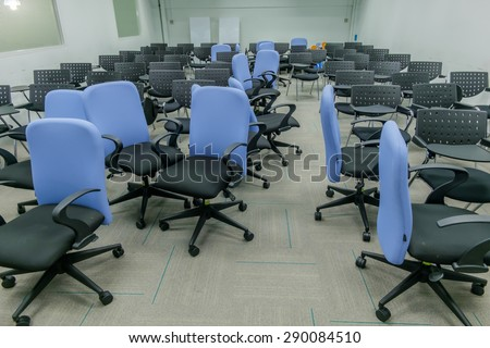 Chairs in the training room in a mess. After training is complete.