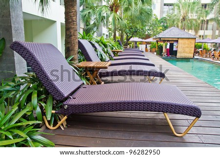 Chairs on a pool deck