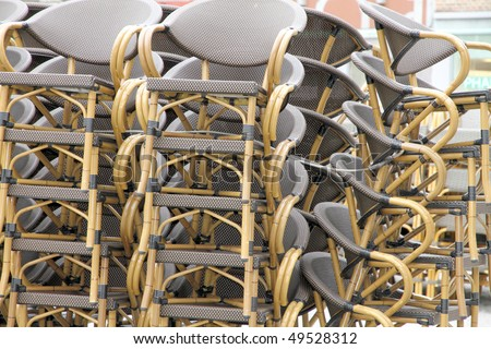 Chairs stacked in a square of Namur Belgium