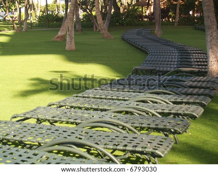 chairs under sun on a green beachr