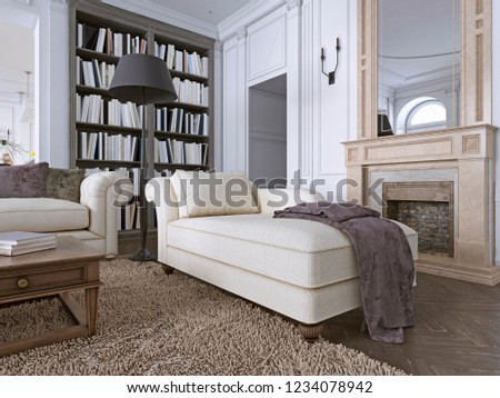 Chaise Chair in classic living room with library. 3d rendering Foto stock ©
