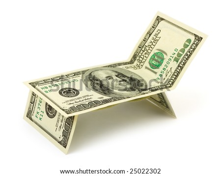 Chaise longue made of money isolated on white background