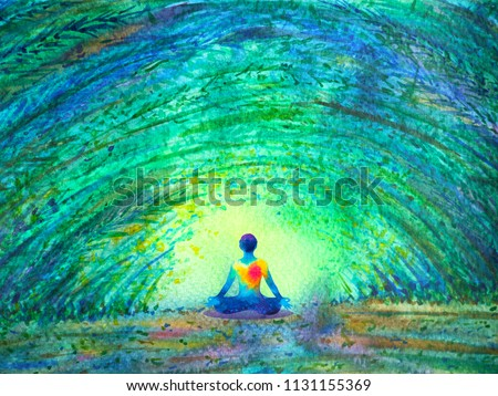 chakra color human lotus pose yoga in green tree forest tunnel, abstract world, universe inside your mind mental, watercolor painting illustration design hand drawn