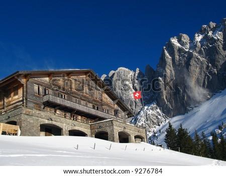 Chalet du Soldat and Gastlosen Mountain Range, Fribourg region, Switzerland
