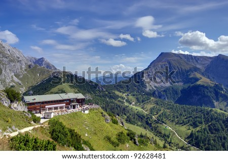 chalet in the mountain valley of Bavarian Alps, Germany - stock photo