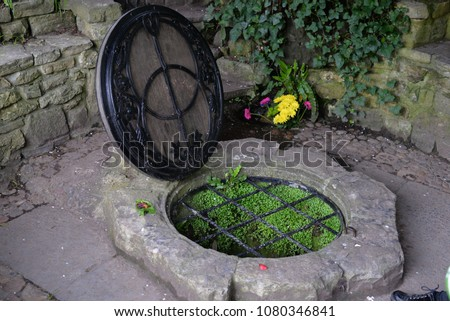 Chalice Well, Red Spring, Glastonbury Tor, Somerset, England, UK