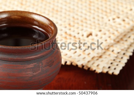 Chalice with red wine and matzo