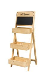 Chalk board folding easel with shelves