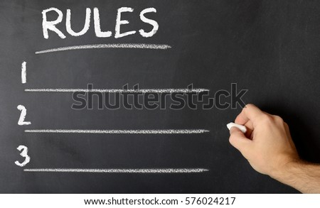 Chalk board with rules written