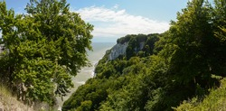 Chalk Cliff on Rügen at the Baltic Sea tourist travel destination in national park germany
